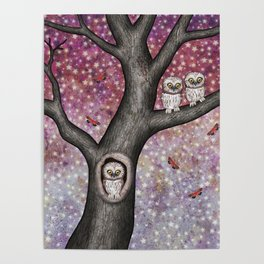 enchanted owls, moths, stars Poster
