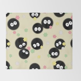 Spirited Away Soot Sprites with Konpeito Sugar Candy  Throw Blanket