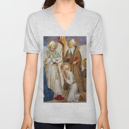 """Fra Angelico (Guido di Pietro) """"Crucifixion with Saints"""" (San Marco) - detail Unisex V-Neck"""