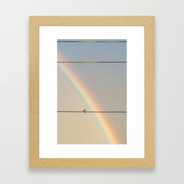 songbird preening under a rainbow (vertical Framed Art Print