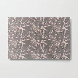 Modern Orchid Flower Leaves Pattern Metal Print