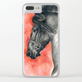 Friesian Stallion Clear iPhone Case
