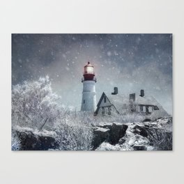 New England Winter Lighthouse Canvas Print