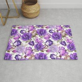 Violet lilac pink watercolor botanical roses floral Rug