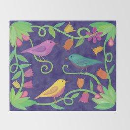 Night Birds Throw Blanket