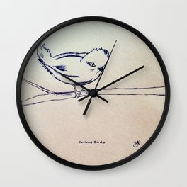 Curious Bird Ink Drawing Wall Clock