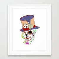 steam punk Framed Art Prints featuring Steam Punk Sugar Skull by J&C Creations
