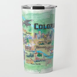USA Colorado State Travel Poster Illustrated Art Map Travel Mug