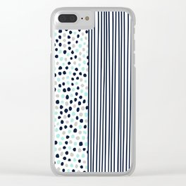 Dots and Stripes Navy Aqua Clear iPhone Case