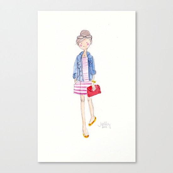 Pink Stripes + Denim Jacket Canvas Print