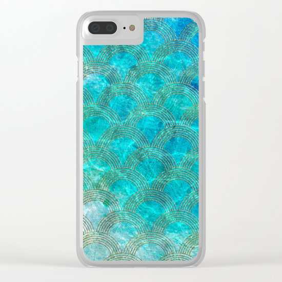 Sea Ocean Waves effect- Gold and Aqua Scales Pattern Clear iPhone Case