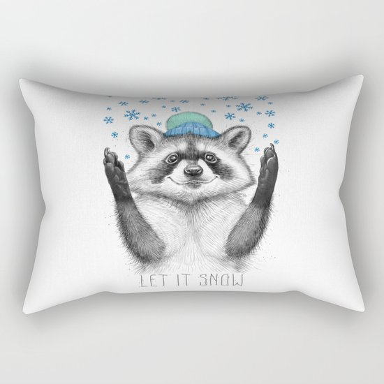winter raccoon Rectangular Pillow
