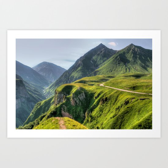 Mountains, green, gigantic, steep and rolling Art Print