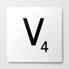 Letter V - Custom Scrabble Letter Tile Art - Scrabble V Initial Metal Print