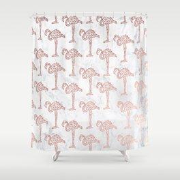 Modern rose gold geometric flamingos illustration pattern white marble Shower Curtain