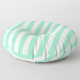 Diagonal Stripes (Mint & White Pattern) Floor Pillow