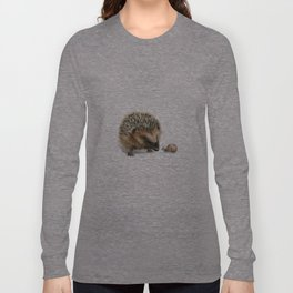 """Close Encounter"" painting of a Hedgehog and Snail by Teresa Thompson Long Sleeve T-shirt"