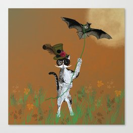 Cat Walking His Bat Canvas Print