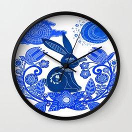 Blue Rabbit Wall Clock