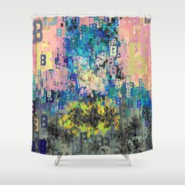 Bat Type Man - Abstract Pop Art Comic Shower Curtain