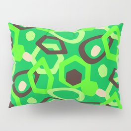 Quirky And Unique Modern Abstract Pattern In Green And Brown Pillow Sham