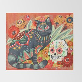Dia De Los Muertos Cat Throw Blanket