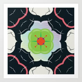 Vintage Tiles: Black  Art Print