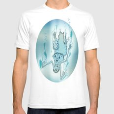 Blue Turquoise Mens Fitted Tee White MEDIUM