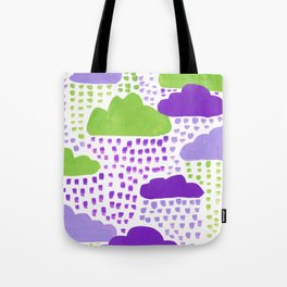 Hand Painted Purple Lilac and Green Rain Clouds Tote Bag