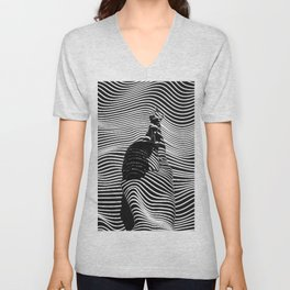 Minimalist Abstract Modern Ripple Lines Projected Woman Sensual Cool Feminine Black and White Photo Unisex V-Neck