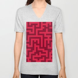 Crimson Red and Burgundy Red Labyrinth Unisex V-Neck