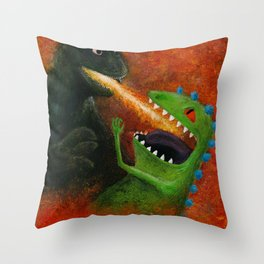 Godzilla vs Reptar Throw Pillow