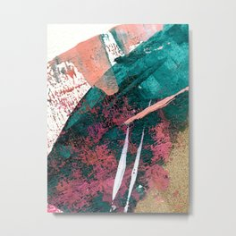 Laughter: a vibrant, colorful, minimal abstract piece in teal, pink, gold, and white Metal Print