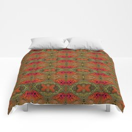 Whimsical pink, orange and green retro pattern  Comforters