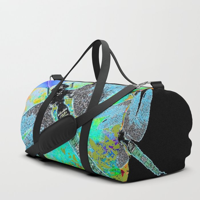 BLUE MORNING GLORIES DRAGONFLIES BLACK ART Duffle Bag