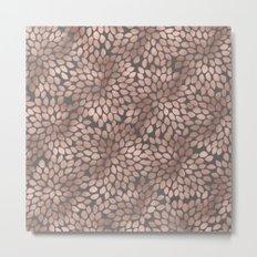 Rosegold flowers- abstract floral elegant pattern on grey backround Metal Print