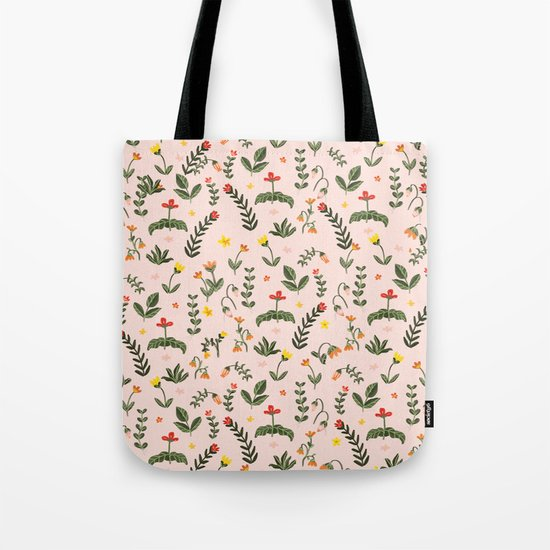 Bright Pink Floral Garden Tote Bag