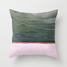 Northern Lights (green) Original Encaustic Painting Throw Pillow