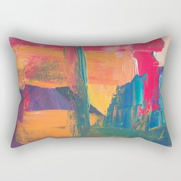 Abstract Art Colorful Vibrant Strong Brush Strokes Rectangular Pillow