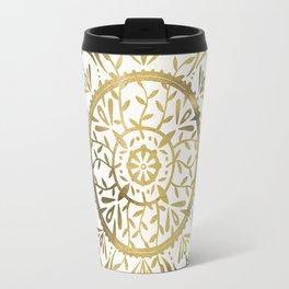 Leaf Mandala – Gold Palette Travel Mug