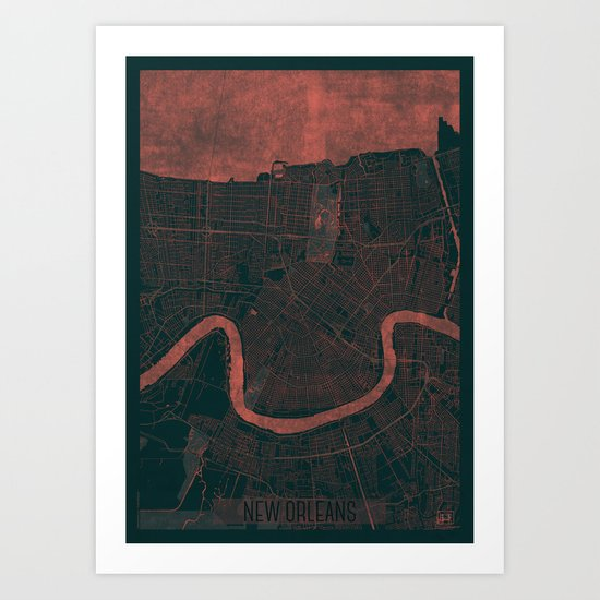 New Orleans Map Red Art Print