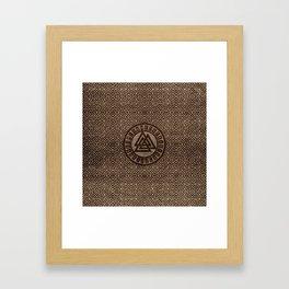 Valknut Symbol and Runes on Celtic Pattern on Wood Framed Art Print