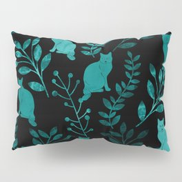 Watercolor Floral and Cat IV Pillow Sham
