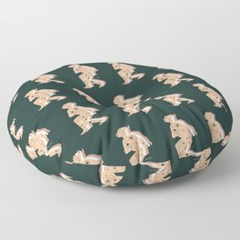 Space Cowboy - Emerald & Peach Floor Pillow