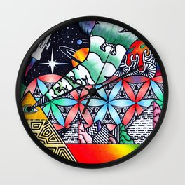 The psychedelic pyramid & DMT landscape Wall Clock