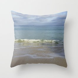 Turquoise Winter Waves and Sky Throw Pillow