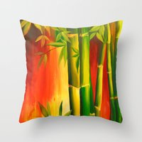 bamboo Throw Pillows featuring Bamboo by OLHADARCHUK