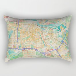 Amsterdam in Watercolor Rectangular Pillow