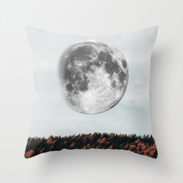 Moon in the fall Throw Pillow