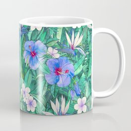 White Bird of Paradise & Blue Hibiscus Tropical Garden Coffee Mug